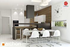 Behance :: Create ProjectDom w avenach ver. 2 Nowoczesny dom z poddaszem użytkowym i garażem, zaprojektowany z myślą o lokalizacji na wąskich działkach. Otwarta część dzienna domu z centralnie usytuowanym kominkiem łączy w sobie kuchnię, jadalnię i duży salon. Bezpośrednio z salonu jest wyjście na wygodny, zadaszony taras. Na parterze znalazły miejsce również garaż, kotłownia i spiżarnia.
