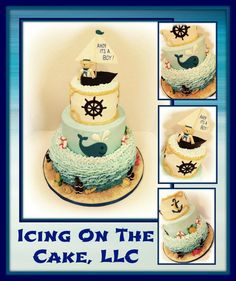 """""""Ahoy It's A Boy!""""  nautical themed baby shower  cake.  Cake is all buttercream with fondant accent pieces.    www.facebook.com/icingonthecake1"""