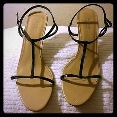 Authentic Vera Wang Sandals by  Simply Vera Shoes have been worn with a few little scars and dents, see photo for heel area with a slight discoloration. They are not new and priced to sell for a Vera Wang sandal. Vera Wang Shoes Sandals
