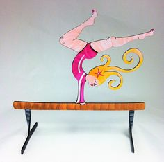 Gymnast Hand Painted Steel Sculpture. Laser cut from sturdy steel, this hand painted sculpture will brighten up any space. It's mighty fun as a stand alone art piece, but your gymnast can be functional, too! The gymnast can be used to hold photographs, jewelry, and more. Each piece is individually hand painted and signed. Minor variations will occur. Rust resistant primer and a clear coat finish make them extremely durable, too. Artist's bio is included.
