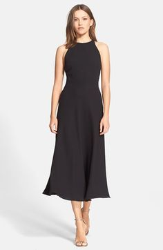Halston Heritage Cutout Back Fit & Flare Midi Dress available at #Nordstrom