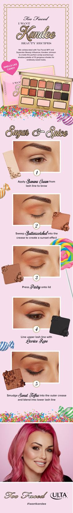 Sweet dreams do come true! Superstar beauty influencer Kandee Johnson has teamed up with Too Faced to bring you a new Ulta Beauty exclusive collection full of scent-sational, covetable treats. Makeup Goals, Love Makeup, Makeup Tips, Beauty Makeup, Hair Beauty, Makeup Ideas, Makeup Tutorials, Makeup Stuff, Drugstore Makeup