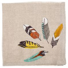 SHOP ALL DINNER NAPKINS VIEW FEATHER TABLE DECOR Blue jays, orioles, hawks, pheasants and songbirds adorn this dinner napkin!! Can be paired with table runners and other dinner napkins. Embroidered on