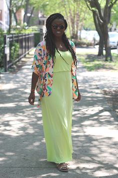 Maxi dress kimono style cardigan