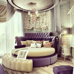 Purple Bedroom Circle Bed Glam Pretty Fancy Royal