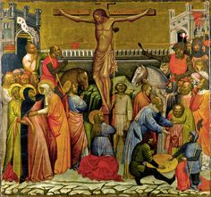 """""""Crucifixion"""" Jacobello del Fiore (1370–1439) Date (1395 - 1400) Tempera and gold on wood panel Height: 1,260 mm (49.61 in). Width: 1,350 mm (53.15 in). Toledo Museum of Art"""