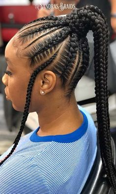 Box braids in braided bun Tied to the front of the head, the braids form a voluminous chignon perfect for an evening look. Box braids in side hair Placed on the shoulder… Continue Reading → Box Braids Hairstyles, Braided Ponytail Hairstyles, Braided Hairstyles For Black Women, Cornrow Ponytail, African Hairstyles, Black Girl Braids, Braids For Black Hair, Box Braids Pictures, Natural Hair Styles
