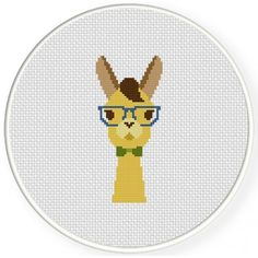 Hipster Llama Cross Stitch Illustration
