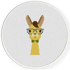 Hipster Llama Cross Stitch Illustration