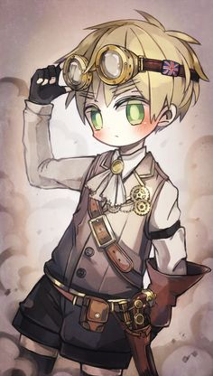 Chibi!England Steampunk in case you haven't seen i LOVE steampunk