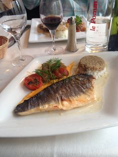 Fish in cream sauce with Brown and white rice.  Bayeux, Normandy, France