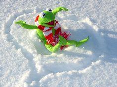 Gratis billede på Pixabay - Kermit, Frø, Sjov, Sne, Vinter