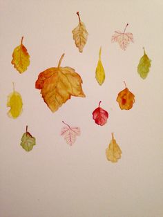Autumn leaves. watercolour pencils.