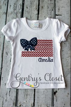 4th+of+July+flag+with+bow+shirt.+Patriotic+July+by+GentrysCloset,+$23.00