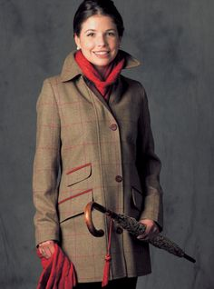 Ladies English Wool Coat in Olive Green