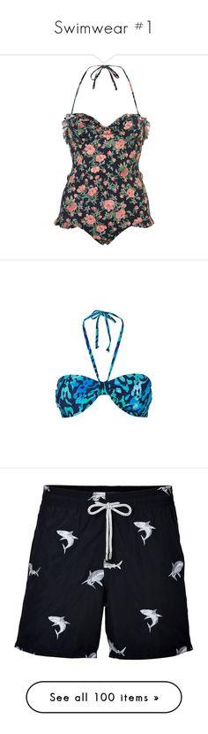 """Swimwear #1"" by butta-oc-stuff ❤ liked on Polyvore featuring swimwear, one-piece swimsuits, swimsuits, swim, bathing suits, tops, women, one piece bathing suits, navy blue one piece swimsuit and vintage one piece bathing suits"