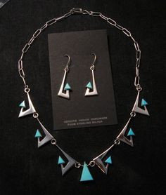 Broken Arrow Necklace & Earrings, Turquoise, Navajo, Ronnie Henry