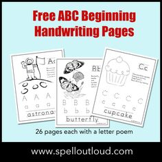 Free ABC beginning handwriting printables from @maureenspell at SpellOutloud