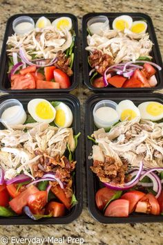 Diet Meals No Cook Meal Prep Chicken Cobb Salad - Make this healthy no cook meal prep chicken cobb salad recipe to enjoy all week long! It has less than 350 calories, yet over protein per serving! Best Meal Prep, Meal Prep Plans, Healthy Meal Prep, Meal Prep Cheap, Meal Prep For The Week Low Carb, Easy Lunch Meal Prep, Sunday Meal Prep, Food Prep, Clean Recipes
