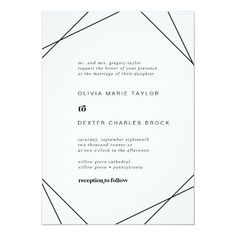 Modern Geometric Traditional Wedding Invite in black and white with rustic bohemian typography and boho diamond and triangle shapes with a modern chic industrial feel. Click to customize with your personalized details today.