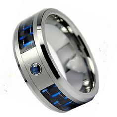 6MM, 8MM Size 4 to 13 Titanium Libra Horoscope Dome Blue Concave Engraved Ring