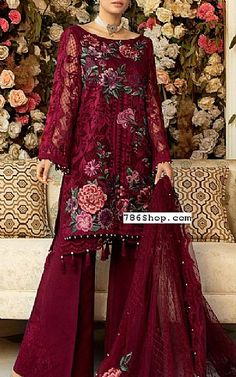 Chiffon Fabric, Chiffon Dress, Fashion Pants, Fashion Dresses, Add Sleeves, Designer Party Wear Dresses, Pakistani Designers, Burgundy Color, Pakistani Dresses