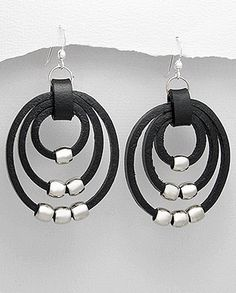 ARG201411-N Boucles d'oreilles en cuir. Leather earrings