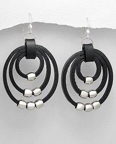ARG201411-N Boucles d'oreilles en cuir. Leather earrings
