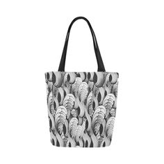waves black white Canvas Tote Bag (Model 1657) b13d0e3f7dcdb