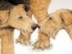 nan hamilton dog art | Nose to Nose Airedale Platter