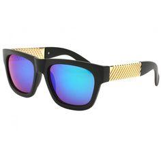 Grandes lunettes de soleil miroir bleu femme monture noire et branches  dorées en damier, lunettes 8f4cd3fd734b
