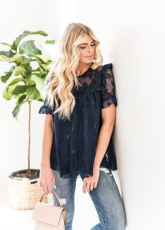 Navy Desiree Lace Ruffle Top-JessaKae, New Arrivals, Spring Fashion, Spring, Season, Cute, Fun, Fashion, Style, Womens Fashion, Womens Style, Tied, Spring Time, Beauty, Accessories, Light, Jeans, Trend, Pattern, Floral, Hair, Blonde, Top, Makeup, Details, Jeans, Navy, Lace, Blush Purse, Tote, Bag