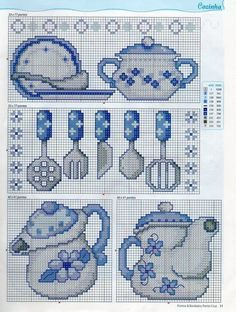 Free Easy Cross, Pattern Maker, PCStitch Charts + Free Historic Old Pattern Books: Sajou No 657 Cross Stitch Needles, Cross Stitch Charts, Cross Stitch Designs, Cross Stitch Patterns, Cross Stitching, Cross Stitch Embroidery, Embroidery Patterns, Hand Embroidery, Cross Stitch Kitchen