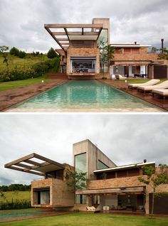 14 Modern Houses Made Of Brick | The bricks used to cover this modern home came from various torn down houses to give the bricks new life and create a more textured exterior on the house.