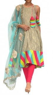 Banarsi Grey Salwar Suit #navratri #colors #ninedays #celebrate