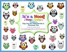 Owls, Owls, Owls: It's a Hoot! Over 30 different owl graphics for commercial, personal, and educational use. Includes backgrounds & borders. $