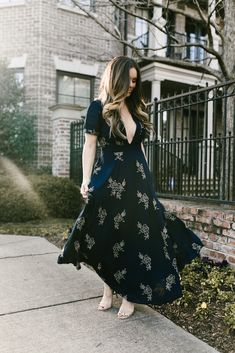 Navy Embroidered Maxi Dress - www.kbstyled.com // Maxi Dresses