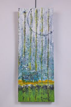 Green and yellow encaustic art piece - $600
