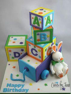 Happy Birthday ((Baby Blocks with Bunny)) Abc Birthday Parties, Boys 1st Birthday Party Ideas, Harry Birthday, 1st Boy Birthday, Baby Shower Sheet Cakes, Christening Cake Boy, Fondant, Baby Blocks, Holiday Cakes