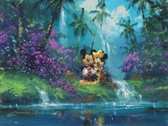 """Mickey & Minnie Hawaiian Dream"" by James Coleman - Original Artwork, 12x16.  #Disney #MickeyMouse #MinnieMouse #DisneyFineArt #JamesColeman"