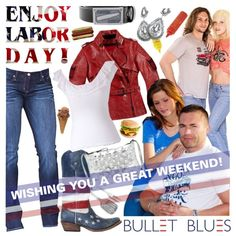 """Bullet Blues Wishes You A Happy Labor Day Weekend"" by bulletblues on Polyvore www.bulletbluesca.com #laborday #designerclothing"