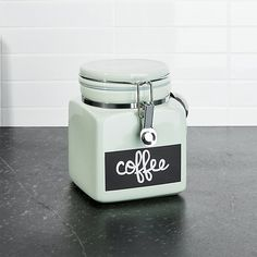 Small Pistachio Clamp Canister with Chalkboard   Crate and Barrel