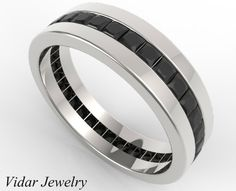 Luxurious and elegant-That's how you want to feel on your wedding day, You do not have to hesitate-This Men's Princess Cut Full Eternity Black Diamonds Wedding Band is the perfect ring for you!