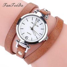 698e3d71ef7 FanTeeDa Brand Hot Selling Fashion Luxury Leather Bracelet Watch Ladies  Quartz Casual Women Dress Wrist Watches