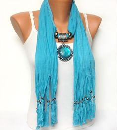 blue jewelry scarf   Christmas gift or for you
