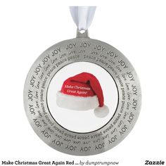 Make Christmas Great Again Red Cap Collectible Pewter Ornament