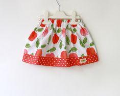 apple skirt, girl's skirt in coral and green. Summer skirt, baby skirt, toddler skirt
