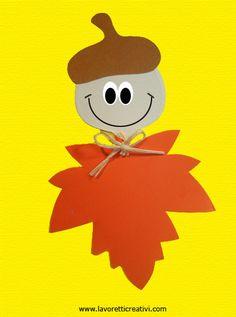 Ghianda e foglie sono realizzate con pochissimo materiale; occorrono dei cartoncini e tanta fantasia per animare con occhi e bocca i nostri soggetti. GHIA Art Activities For Kids, Autumn Activities, Preschool Crafts, Art For Kids, Autumn Crafts, Halloween Crafts For Kids, Autumn Art, Flower Crafts Kids, Toddler Crafts