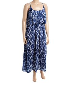 This Blue Geometric Maxi Dress - Plus is perfect! #zulilyfinds