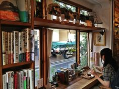 "whatsthecatreading: "" Reading nooks with views of the hip Shimokitazawa neighbourhood in Tokyo, Japan A quick hop from Shibuya and Shinjuku, Shimokitazawa is a nice change of pace from the craziness..."